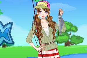 钓鱼小美女