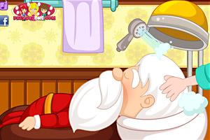 给圣诞老人美发