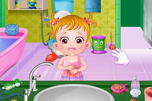 可爱宝贝清理浴室