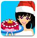 圣诞美女谨慎做蛋糕