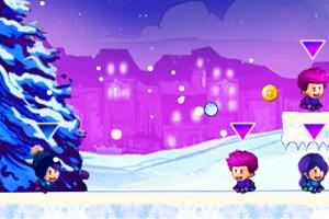 雪地打雪球