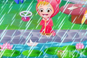 《可爱宝贝雨天玩?!方赝?